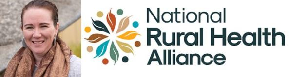 National Rural Health Alliance logo circle of 8 leaves and dots & portrait shot of NRHA new Chair Nicole O'Reilly