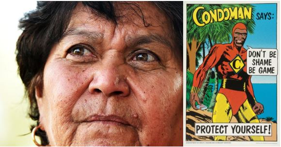 close up photo of face of Gracelyn Smallwood & the Condoman poster