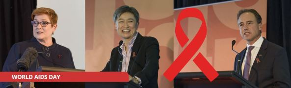 image of Minister Payne, Minister Wong and Minister Hunt at podium on World AIDS Day