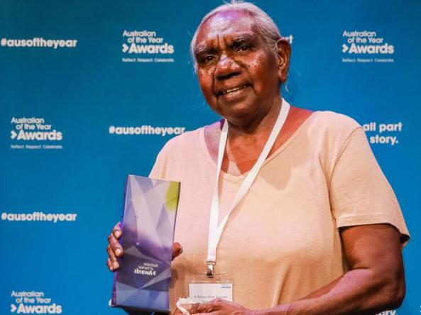 Dr Miriam-Rose Ungunmerr Baumann AM receiving the 2021 Senior Australian of the Year award