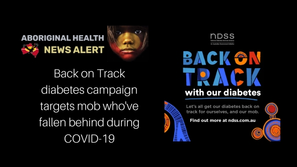Back on Track with out diabetes promotion tile & words Back on Track diabetes campaign targets mob who've fallen behind during COVID-19