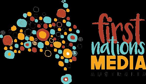 First Nations Media Australia logo - word plus map of Australia filled with yellow orchre black aqua Aboriginal art circles
