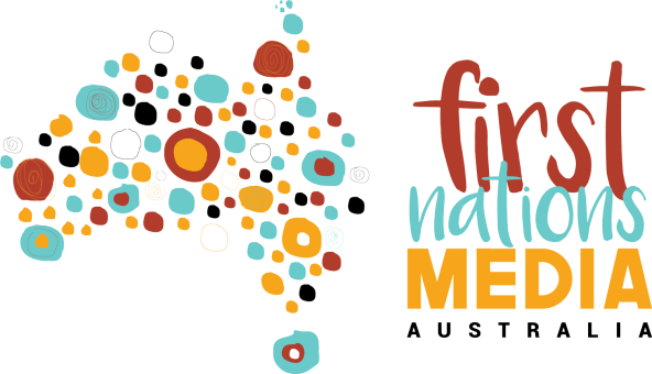 First Nations Media Australia logo - word plus map of Australia filled with yellow orchre black aqua Aboriginal art circles