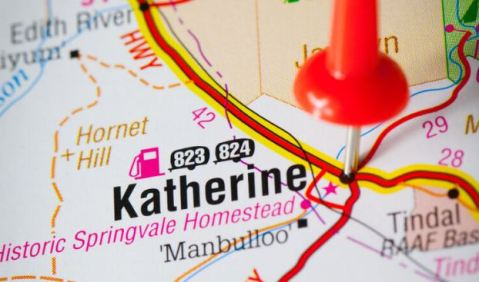 extract of a road map with a pin in Katherine
