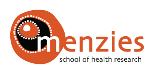 Menzies School of Health Research logo, words plus dot with 3 concentric circles orange black white