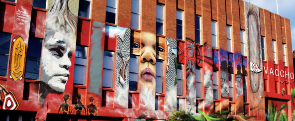 : Landmark mural by Aboriginal artists, Ray Thomas, Kulan Barney and Ruby Kulla Kulla, in partnership with world famous street artist Adnate, to mark the 20th anniversary of the Victorian Aboriginal and Community Controlled Health Organisation (VACCHO), which proclaims its mission of Strong Culture, Thriving Communities.