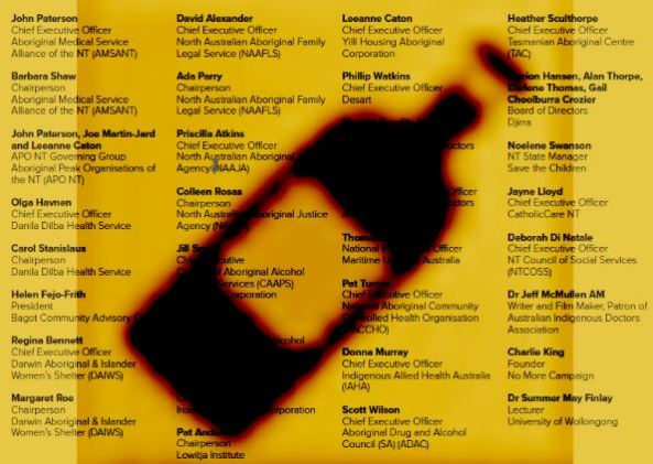 silhouette of a spirits bottle over a list of the signatories to Reconciliation Australia to ct ties with Woolworths over Darwin bottle shop proposal