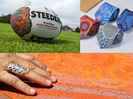 collage Indigenous Allstars football, Yilay Apparel Distributors 4 men's ties, each with a different Aboriginal dot painting design, Aboriginal hand with silver ring feeling texture of Aboriginal sand painting Saretta Art and Design