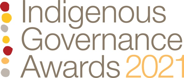 banner text 'Indigenous Governance Awards 2021' right hand side red, yellow, grey Aboriginal irregular dot images - 7 in total