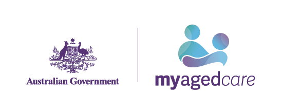 Australian Government My Aged Care logo blue purple green silhouette of two people with arms reaching out to each other