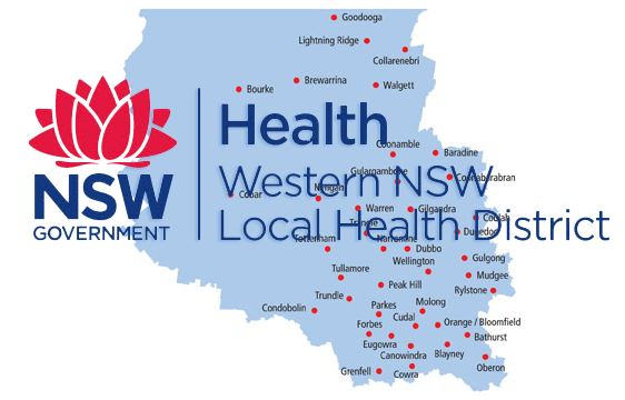 NSW Government waratah logo, text 'Health Western NSW Local Health District superimposed over map of LHC including names Cowra, Lightning Ridge etc.