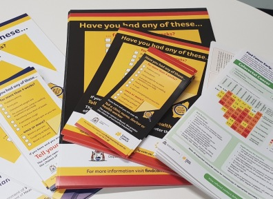 array of pamphlet, fact sheet & brochure Find Cancer Early symptom checklist resources