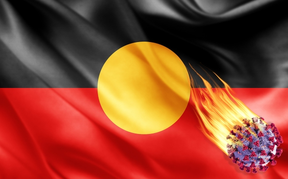 3D painting of creased Aboriginal flag with covid-19 cell image in flames superimposed