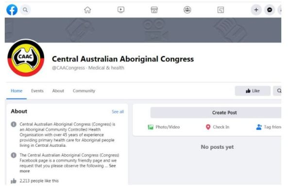 screen shot of Central Australian Aboriginal Congress Facebook page