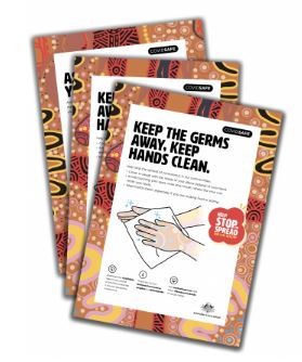 image of 3 DoH Aboriginal specific stay covid-19 safe brochures, the first with text 'keep the germs away, keep hands clean' & line drawing of hands being washed