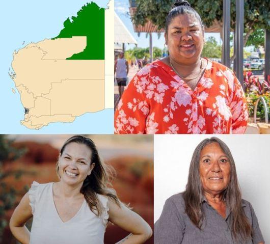 map of seat of Kimberley, portrait photos of Divina D'Anna, Millie Hills & Naomi Pigram