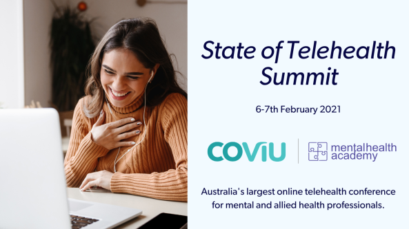 2021 State of Telehealth Summit mental health academy COViU Australia's largest online telehealth conference for mental and allied health professionals banner