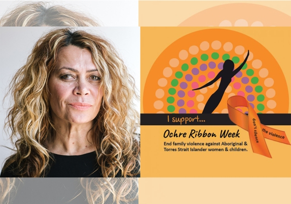 banner I support Ochre Ribbon Week End family violence against Aboriginal & Torres Strait Islander women & children. don't silence the violence, portrait of Djirra CEO Antionette Braybrook