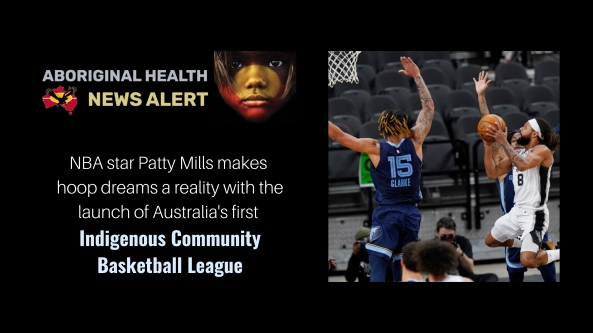 Feature tile text 'NBA star Patty Mills makes hoop dreams a reality with the launch of Australia's first Indigenous Community Basketball League', image of Patty Mills taking a shot at the hoop