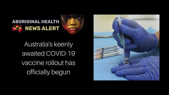 feature tile Mon 22.2.21 text 'Australia's keenly awated COVID-19 vaccine rollout has officially begun', gloved hand with syringe in vial