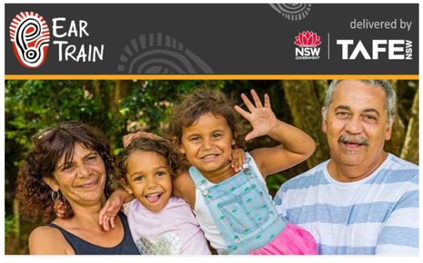 EarTrain banner, text deliver by NSW Government TAFE NSW & photo of Aboriginal man, woman & two young girls