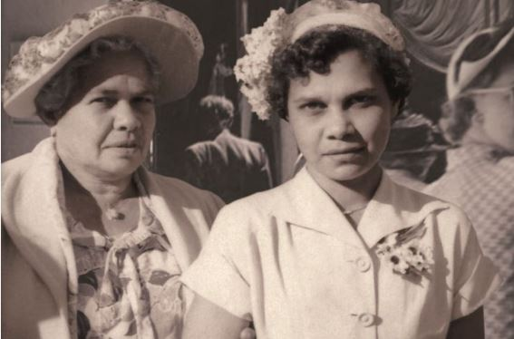 photo of Aboriginal woman Daisy Smith with her daughter Valma, circa 1950