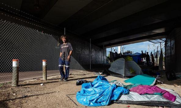 Raymond Ward at Tent City homeless camp in Perth November 2020