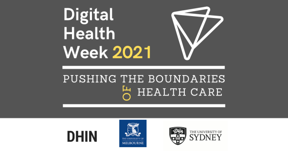 Digital Health Week 2021 Pushing the Boundaries of Health Care banner, grey, two overlapping white triangles, white text, yellow font '2021' & 'of'