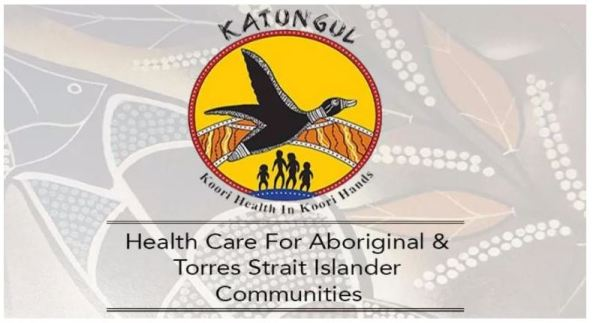 Katungul ACCHO logo black duck flying across curved Aboriginal brown yellow black art, inside ochre circle with golden yellow fill, silhouette of man, woman, girl & boy at bottom of the circle, text 'Health Care for Aboriginal & Torres Strait Islander Communities
