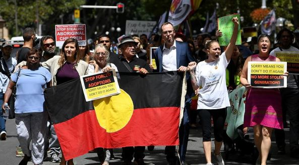 rally on 11th anniversary of the National Apology to Stolen Generations in Sydney in 2019