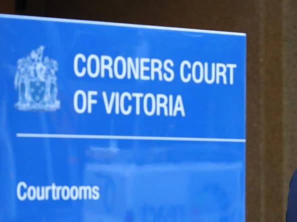 blue sign outside Coroners Court of Victoria, text Coroners Court of Victoria, state government emblem & the word courtrooms