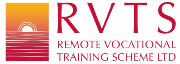 RVTS Remote Vocational Training Scheme Ltd logo sun rising on horizon red yellow Aboriginal art vector image