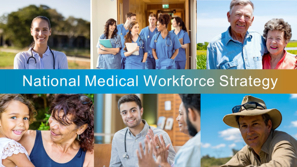 banner, text National Medical WOrkforce Strategy, collage of photos, doctor with stethoscope, group of nurses, older couple, Aboriginal woman and young girl, male doctor, farmer