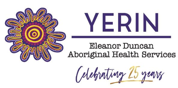 Yerin Aboriginal Health Services Limited logo, 7 purple & yellow concentric circles surrounded by 14 flower-like petals with purple & yellow Aboriginal dots