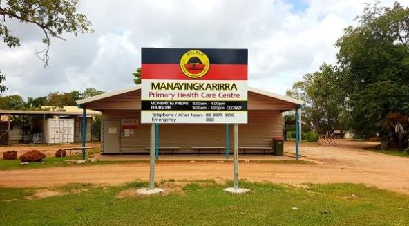 sign outside Manayingkarirra Primary Health Care Centre, Maningrida