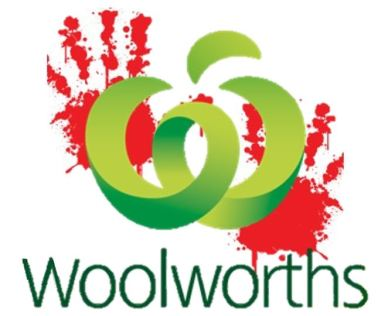 Woolworths logo superimposed over red bloody handprints, text 'Woolworths'