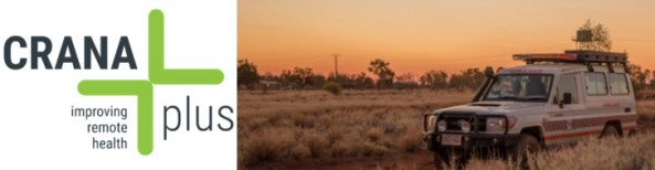 CRANAplus improving remote health logo & image of 4-wheel drive in the outback at dusk