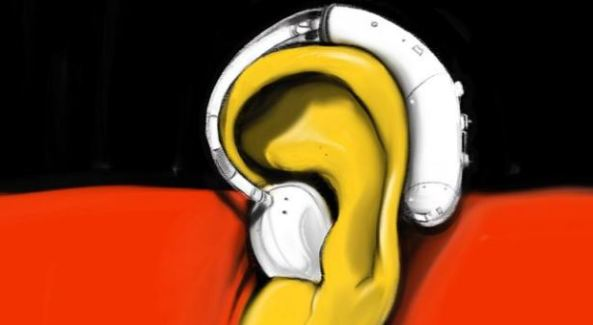 Aboriginal flag illustration with yellow ear in the centre with a white hearing aid