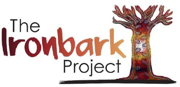 text 'The Ironbark Project' & painting of tree without leaves covered in Aboriginal dot paintings