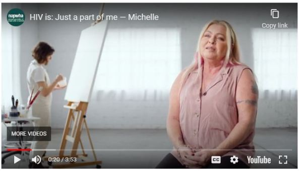 slide from HIV is: Just a part of me - Michelle Tobin Yorta Yorta woman sitting on a stool talking to the camera