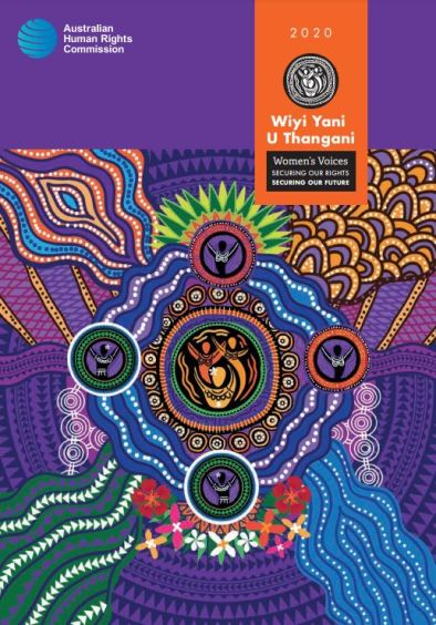 cover of the AHRC 2020 Yiyi Yani U Thangani Women's Voices Securing our Rights Securing our Future report, puple orange green blue pink Aboriginal dot painting